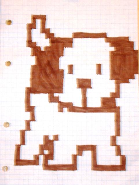 Рисунок по клеточкам в тетради собачка